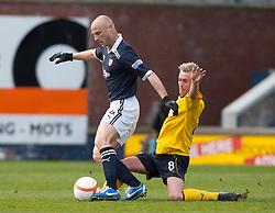 Raith Rovers Simon Mensing and Falkirk's Craig Sibbald..Raith Rovers 0 v 0 Falkirk, 27/4/2013..© Michael Schofield.