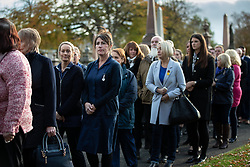 © Licensed to London News Pictures . 30/10/2018. Accrington , UK . People queue outside the crematorium ahead of the service . The funeral of Gemma Nuttall at Accrington Crematorium . Gemma died of cancer despite initially seeing off the disease after radical immunotherapy treatment in Germany , paid for with the fundraising support of actress Kate Winslet , who read of Gemma's plight on a crowdfunding website shortly after she lost her own mother to cancer . Permission to photograph given by Gemma's mother , Helen Sproates . Photo credit : Joel Goodman/LNP