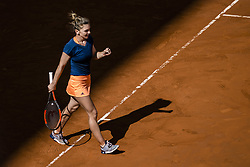 May 9, 2017 - Madrid, Madrid, Spain - SIMONA HALEP (ROU) celebrates her victory over  Roberta Vinci (ITA) in round 2 of the 'Mutua Madrid Open' 2017. Halep won 6:3, 2:6, 7:6 (Credit Image: © Matthias Oesterle via ZUMA Wire)