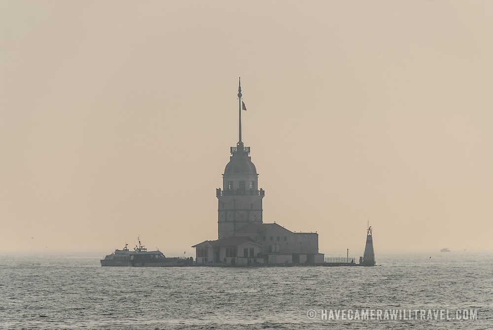 The Maiden's Tower (Turkish: Kız Kulesi), also known in the ancient Greek and medieval Byzantine periods as Leander's Tower (Tower of Leandros), sits on a small islet located at the southern entrance of Bosphorus strait 200 m (220 yd) off the coast of Üsküdar in Istanbul, Turkey.