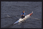 London. United Kingdom. Ian WATSON, 1990 Scullers Head of the River Race. River Thames, viewpoint Chiswick Bridge Saturday 07.04.1990<br /> <br /> [Mandatory Credit; Peter SPURRIER/Intersport Images] 19900407 Scullers Head, London Engl