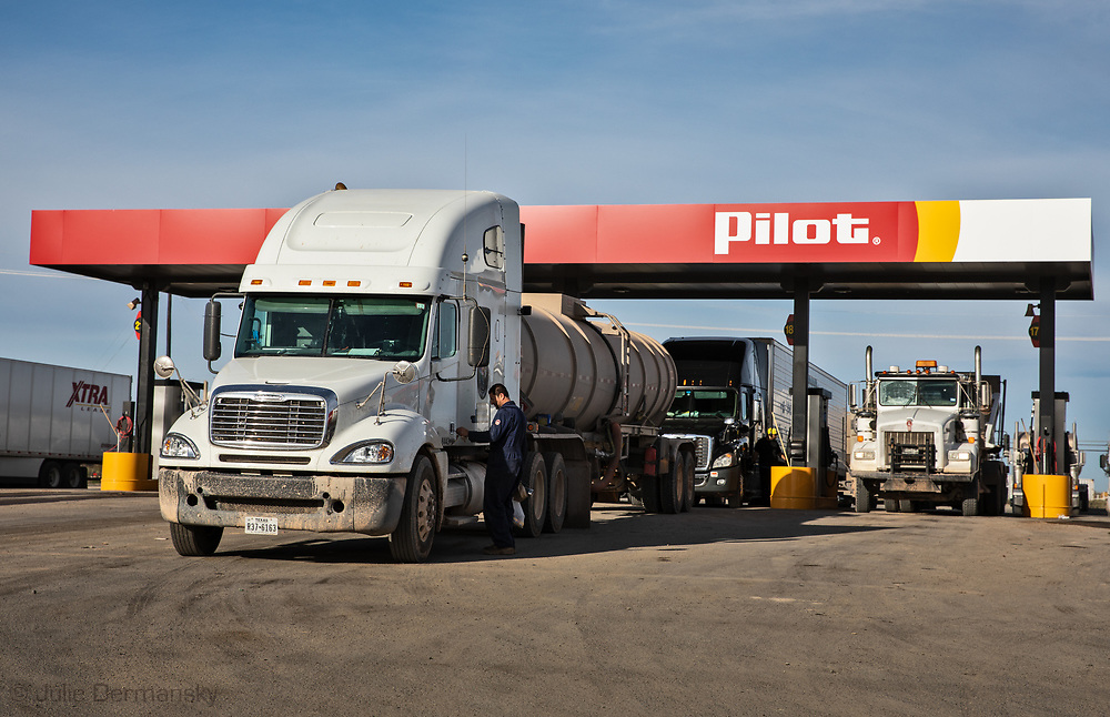 Fracking industry truck s at a Pilot gas station in  the Permain Basin in Texas.