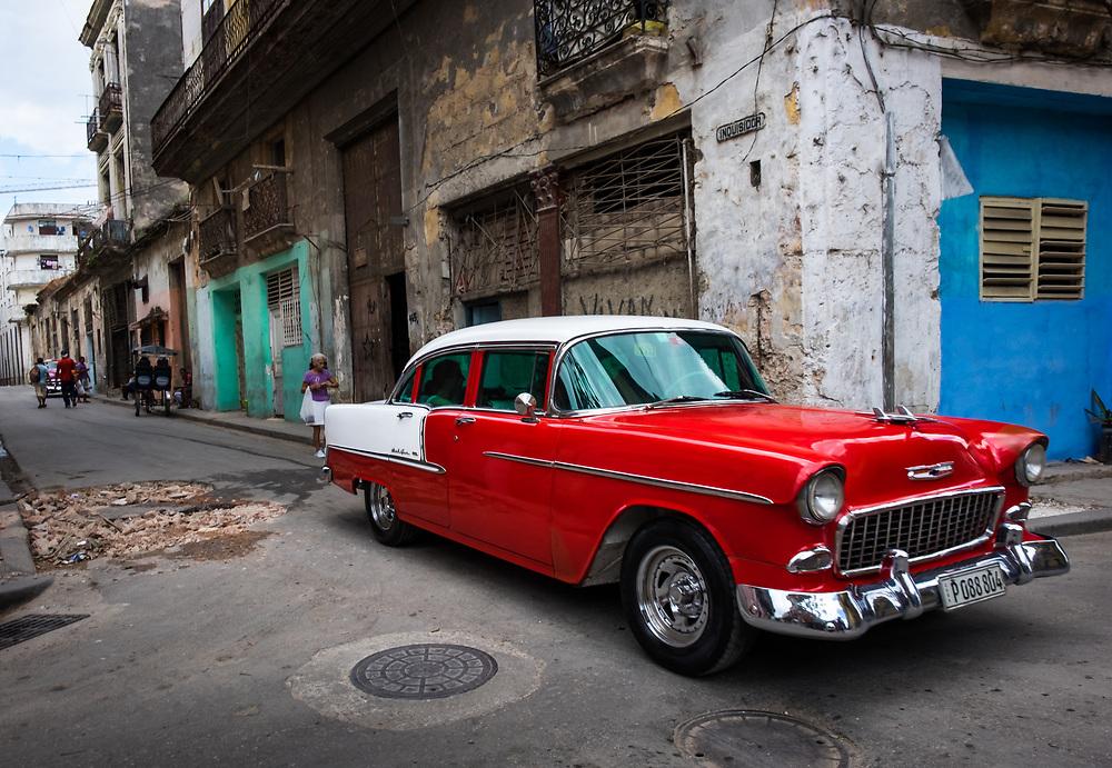 HAVANA, CUBA - CIRCA MAY 2016: Old American classic car in the streets of  Havana, Cuba.