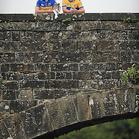 26 July 2010; Tipperary captain Padraic Maher, left, and John Conlon, Clare captain, met halfway on the bridge at Killaloe, Co. Clare and Ballina, Co. Tipperary, ahead of Wednesday night's Bord Gáis Energy Munster GAA Hurling U-21 Final. Tipperary will look to upset current Munster and All-Ireland champions Clare on home turf at Semple Stadium, where throw in is at 7.30pm. Killaloe, Co. Clare. Picture credit: David Maher / SPORTSFILE *** NO REPRODUCTION FEE ***