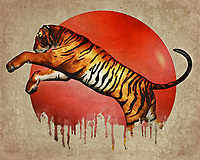 In this powerhouse piece by artist Jan Keteleer, we see an incredible image. We see a tiger in the middle of an attack. This tiger is fighting something. Yet we cannot see what that might be. There is something decidedly haunting about this image. Is it the bleeding sun in the background, suggesting the horrors of ongoing climate change? Is it the fact that the tiger has begun to disappear, as well? These are powerful questions that you are going to need to consider, as you stare deeper and deeper into this spectacular fine art commentary on a very prevalent social matter.<br />