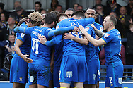 AFC Wimbledon players celebrating during the EFL Sky Bet League 1 match between AFC Wimbledon and Oxford United at the Cherry Red Records Stadium, Kingston, England on 10 March 2018. Picture by Matthew Redman.