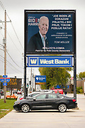 23 OCTOBER 2020 - DES MOINES, IOWA: An electronic Joe Biden campaign sign in Des Moines. Although Donald Trump carried Iowa in 2016, Hillary Clinton won Des Moines and Polk County. Trump and Democratic challenger Joe Biden are statistically tied in Iowa, but Biden is expected to carry Polk County this year. There about 10,000 people of Bosnian ancestry in the Des Moines area.     PHOTO BY JACK KURTZ