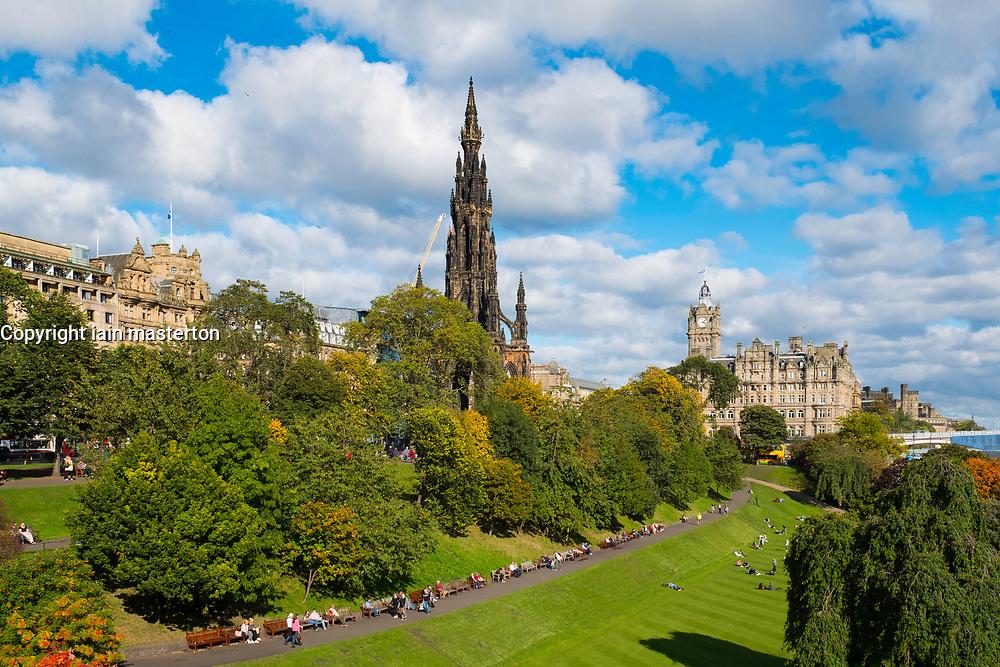 View across Princess Street Gardens to Scott Monument in Edinburgh, Scotland, United Kingdom.