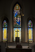 'Fred Emery Beane II Memorial Window,' Artist and date unknown. Lower windows by Jackman Studio, date unknown. St. Matthew and Barnabas, Hallowell, Maine.