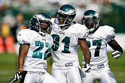 Philadelphia Eagles cornerback Asante Samuel #22 reacts after a play during the Philadelphia Eagles NFL training camp in Bethlehem, Pennsylvania at Lehigh University on Saturday August 8th 2009. (Photo by Brian Garfinkel)