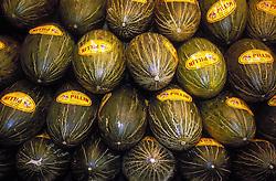 Melon stall in La Boqueria market; Barcelona,