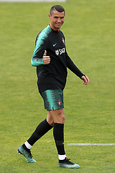 June 4, 2018 - Lisbon, Portugal - Portugal's forward Cristiano Ronaldo gestures during a training session at Cidade do Futebol (Football City) training camp in Oeiras, outskirts of Lisbon, on June 4, 2018, ahead of the FIFA World Cup Russia 2018 preparation match against Algeria. (Credit Image: © Pedro Fiuza/NurPhoto via ZUMA Press)