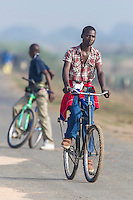 Bicycle riding in Mozambique, Limpopo floodplain, Maputo Province, Mozambique