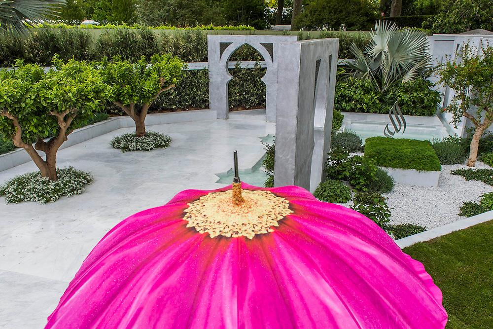 The Al Brari, Beauty of Islam Garden by Kamelia Bin Zaal . RHS Chelsea Flower Show, Chelsea Hospital, London UK, 18 May 2015.