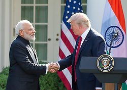 United States President Donald J. Trump and Prime Minister Narendra Modi of India shake hands as they deliver joint statements in the Rose Garden of the White House in Washington, DC, USA, on Monday, June 26, 2017. Photo by Ron Sachs/CNP/ABACAPRESS.COM