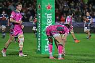 Gloucester fly half Owen Williams (12) places the ball for an easy try 45- 9 during the European Rugby Challenge Cup match between Gloucester Rugby and SU Agen at the Kingsholm Stadium, Gloucester, United Kingdom on 19 October 2017. Photo by Gary Learmonth.