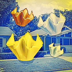 Vintage Glassware Handkerchief Vases Retro Advertising on aged Homestead background