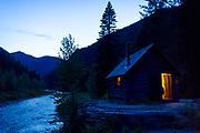 Granite Cabin at night