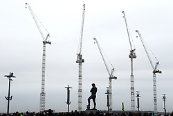 General view of the ongoing construction work and the Bobby Moore statue outside the stadium ahead the Premier League match between Tottenham Hotspur and Arsenal at Wembley Stadium, London.