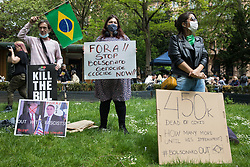 Brazilian activists take part in a Kill The Bill National Day of Action in protest against the Police, Crime, Sentencing and Courts (PCSC) Bill 2021 on 29th May 2021 in London, United Kingdom. The PCSC Bill would grant the police a range of new discretionary powers to shut down protests, including the ability to impose conditions on any protest deemed to be disruptive to the local community, wider stop and search powers and sentences of up to 10 years in prison for damaging memorials.