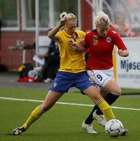 Fotball <br /> Privatlandskamp J16<br /> Fart Stadion <br /> 16.08.09<br /> Norge  v  Sverige  1-2<br /> Foto: Dagfinn Limoseth, Digitalsport<br /> <br /> Nina Thorne  , Norge og Amanda Ilestedt , Sverige