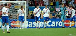 25-06-2006 VOETBAL: FIFA WORLD CUP: NEDERLAND - PORTUGAL: NURNBERG<br /> Oranje verliest in een beladen duel met 1-0 van Portugal en is uitgeschakeld / Teleurstelling bij de 1-0 vlnr van Persie, Boulahrouz, v Bommel, Ooijer, van der Sar en Sneijder<br /> ©2006-WWW.FOTOHOOGENDOORN.NL