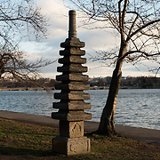 Originally constructed in the 17th century and weighing 3,800 pounds, the Japanese Pagoda was gifted to Washington DC in 1957 in commemoration of the 100th anniversary of the opening of peaceful relations between the United States and Japan. It is composed of five distinct symbols, from bottom to top: earth, water, fire, wind, and sky. It sits on the banks of the Tidal Basin amongst the famous cherry blossoms that had, themselves, been gifts of Japan in 1912. In the background is the Washington Monument in the distance.