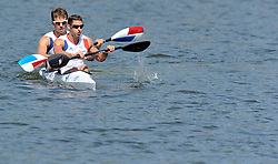 ARNAUD HYBOIS & SEBASTIEN JOUVE (BOTH FRANCE) AFTER THE MEN'S K2 200 METERS FINAL A RACE DURING 2010 ICF KAYAK SPRINT WORLD CHAMPIONSHIPS ON MALTA LAKE IN POZNAN, POLAND...POLAND , POZNAN , AUGUST 22, 2010..( PHOTO BY ADAM NURKIEWICZ / MEDIASPORT ).