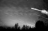 Star, Moon, and Jet Trails + Clouds. Backyard Night Sky Over New Jersey Looking South. Composite of 222 images taken with a Nikon D3 camera and 24-70 mm f/2.8 lens (ISO 200, 24 mm, f/2.8, 15 sec)