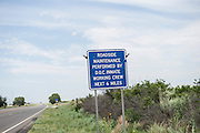 A sign outside Fort Supply warns motorists not to pick up hitchhickers.