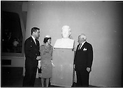 07/06/1964<br /> 06/07/1964<br /> 07 June 1964<br /> Bust of President Kennedy unveiled at the American Embassy, Dublin. A bust of the late President John F. Kennedy was unveiled by Mrs Ted Sorensen, in the presence of the retiring American Ambassador to Ireland, Mr. Matthew McCluskey. The bust was set in the main hall of the new United States Embassy, Ballsbridge. Mrs Sorensen was the four day bride of Mr. Ted Sorensen, who was a special aide to the late President. Image shows (l-r): Mr. Sorensen; Mrs Sorensen and Ambassador McCluskey.