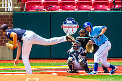 25 May 2019:  Peyton Sherlin pitches, Herbert Iser catches, CJ Huntley bats and winces while bunting and taking the ball on his fingers and Bill McGuire makes the calls. Missouri Valley Conference Baseball Tournament - Dallas Baptist Patriots v Indiana State Sycamores at Duffy Bass Field in Normal IL<br /> <br /> #MVCSPORTS