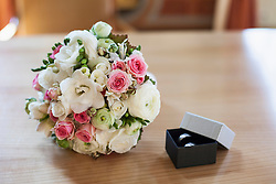 Close-up of wedding ring with bridal bouquet, Munich, Bavaria, Germany