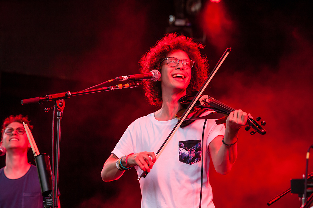 Brooklyn, NY - 15 July 2017. The BRIC Celebrate Brooklyn! Festival summer concert series featured a post-Bastille Day bill of the Louisiana bilingual band Sweet Crude and French songwriter and stylist Ben L'Oncle Soul. Sweet Crude, featuring Sam Craft (vocals and fiddle).