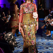 Designer Berta Laumoli of Fierce Fashion by RL showcases it lastest collection to fights Climate Change with materials from tree and plant Pandanas - Fine Mat, Mother of Pearl, Lopa Seeds, Coconut Husk and tapa - Mulberry Bark at London Pacific Fashion Week 2019, at Royal Horseguards Hotel, Whitehall, on 13 September 2019, London, UK.