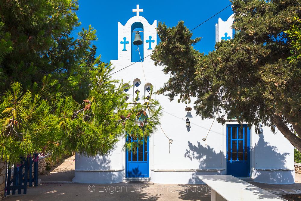 Aliki, Paros, Greece - July 2021: Greek Chapel