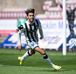 Dunfermline's Faissal El Bahktaoui celebrates after scoring their second goal. <br /> Dunfermline 7 v 1 Cowdenbeath, SPFL Ladbrokes League Division One game played 15/8/2015 at East End Park.