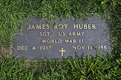 31 August 2017:   Veterans graves in Park Hill Cemetery in eastern McLean County.<br /> <br /> James Roy Huber  Sergeant  US Army  World War II  Dec 4 1917  Nov 11 1988