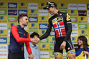 Edvald Boasson Hagen is congratulated by Owain Doull after winning the Aviva Tour of Britain, Regent Street, London, United Kingdom on 13 September 2015. Photo by Ellie Hoad.