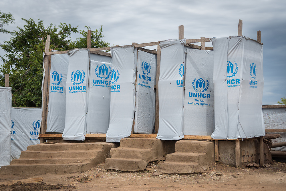 30 May 2019, Mokolo, Cameroon: Emergency latrines in the transit zone to Minawao camp for Nigerian refugees. Before being settled in the camp, newly arriving refugees are hosted in the transit zone until their arrival has been registered by UNHCR. The Minawao camp for Nigerian refugees, located in the Far North region of Cameroon, hosts some 58,000 refugees from North East Nigeria. The refugees are supported by the Lutheran World Federation, together with a range of partners.