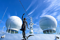 Bronze statue of a woman and seagull leading the MV World Odyssey while crossing the Pacific Ocean. Semester at Sea, 2016 Spring Semester Voyage. Day 3 of 102. Image taken with a Leica T camera and 11-23 mm lens (ISO 100, 14 mm, f/14, 1/125 sec).