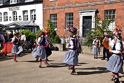 Morris dancing outside the Wig & Pen pub in Norwich, UK Sep 2019