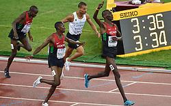 30-08-2015 CHN: IAAF World Championships Athletics day 9, Beijing<br /> Absel Kiprop KEN won het goud in 3.34,40. Zijn landgenoot Elijah Manangoi finishte als tweede in 3.34,63. De Marokkaan Abdalaati Iguider pakte het brons in 3.34,67.<br /> Photo by Ronald Hoogendoorn / Sportida