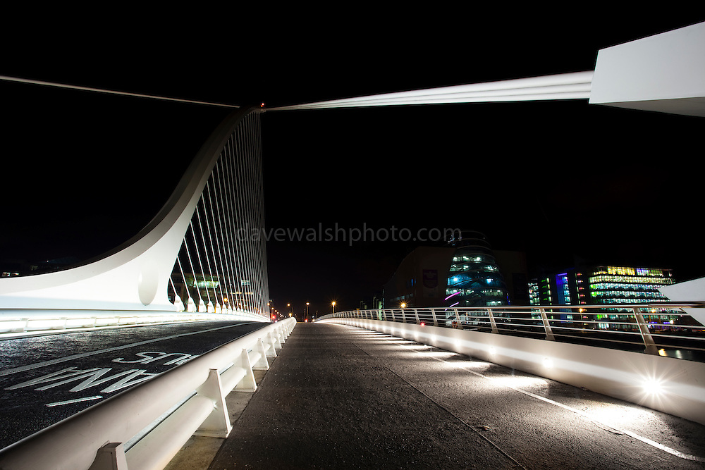 Samuel Beckett Bridge over the Liffey River, in Dublin Ireland Constructed by Graham Hollandia Joint Venture, and designed by Spanish architect Santiago Calatrava. The bridge is 120 metres long and 48 metres high and weighs 5,700 tonnes.
