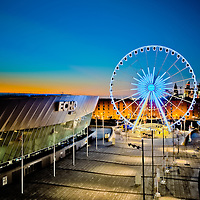 The Echo Arena Wheel at dusk.