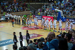 Slovenian national team during friendly basketball match between National teams of Slovenia and Italy at day 3 of Adecco Cup 2015, on August 23 in Koper, Slovenia. Photo by Grega Valancic / Sportida