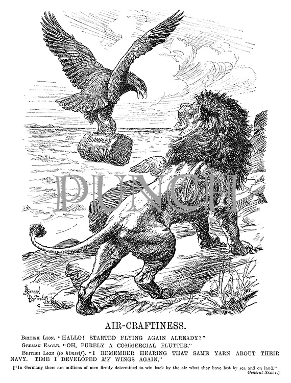 """Air-Craftness. British Lion. """"Hallo! Started flying again already?"""" German Eagle. """"Oh, purely a commercial flutter."""" British Lion (to himself). """"I remember hearing that same yarn about their navy. Time I developed my wings again."""" [""""In Germany there are millions of men firmly determined to win back by the air what they have lost by sea and on land."""" General Seely.]"""