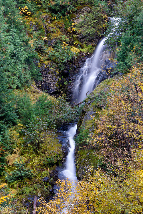 Berry Creek Falls and fall foliage colors in North Cascades National Park, Washington State, USA