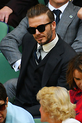 © Licensed to London News Pictures. 02/07/2016. DAVID BECKHAM watchs tennis from the Royal Box on the centre court on the sixth day of the WIMBLEDON Lawn Tennis Championships.  London, UK. Photo credit: Ray Tang/LNP