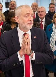 © Licensed to London News Pictures. 29/10/2019. London, UK. Labour Party Leader Jeremy Corbyn stands with the shadow cabinet as he speaks at party headquarters after announcing that he will support an early general election. The government are expected to call for another vote on a general election in Parliament later today. Photo credit: Peter Macdiarmid/LNP